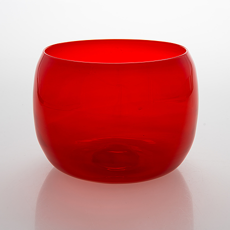 Kaj franck, a 'rosso' bowl signed kaj franck nuutajärvi notsjö.