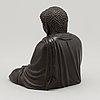 A japanese seated bronze okimono of amitabha buddha, 20th century.