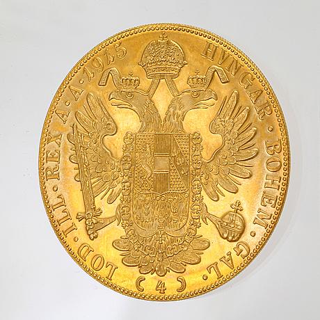 Coin, gold 23k, 4 ducats. austria-hungary 1915. vikt c 14 g.