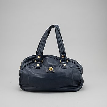 Marc by Marc Jacobs, a navy leather handbag and wallet, 2008.