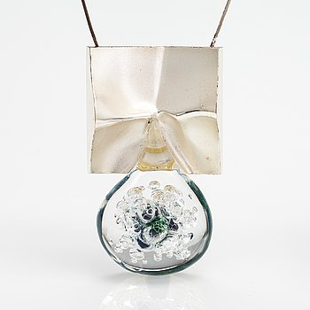 """Björn Weckström, A sterling silver and acrylic necklace """"Big drop"""". Lapponia 2000."""