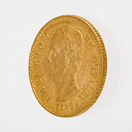 Coin, guld 21,6k (900), l 20 italien 1882, vikt c 6,4 g.