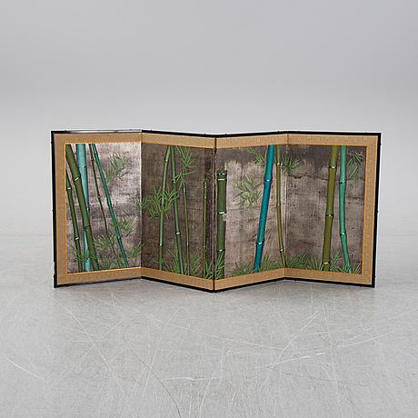 A four panel japanese folding screen, 'byobu', mid 20th century.