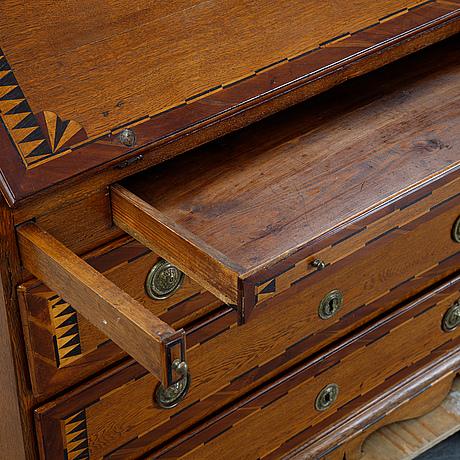 An oak inlay secretaire, 18th century.