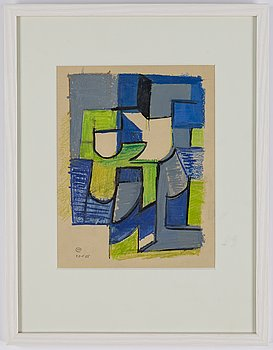 Lennart Rodhe, pastel on paper, signed and dated 20-8-55.