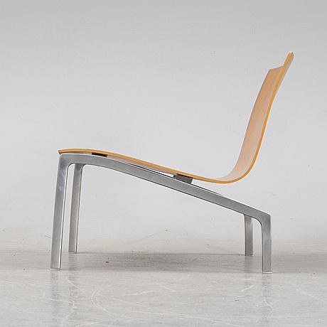 Fritz hansen, an oak and aluminium model 'pl200' easy chair, fritz hansen, denmark 2007.