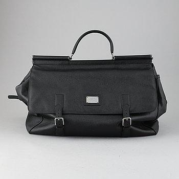 Dolce & Gabbana, a black leather weekend bag.