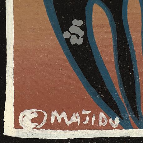 Okänd konstnär, olja på duk, tingatinga-måleri, signerad majidu, 1970/80-tal.