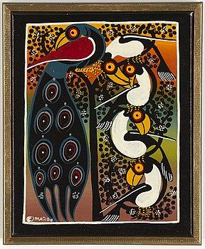 Unknown artist, oil on canvas, Tingatinga style, signed Majidu, 1970/80s.