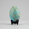 Hans hedberg, a signed faiance egg with stand, biot, france.