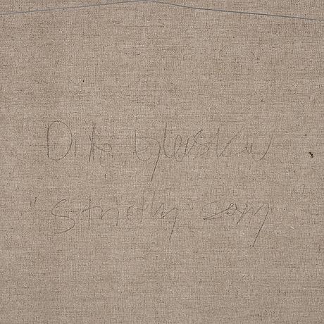 Ditte ejlerskov, oil on canvas, collage, signed on verso.