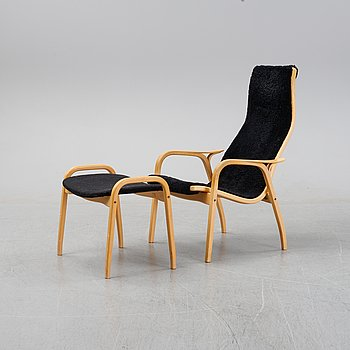 Yngve Ekström, an easy chair with ottoman, 'Lamino' Swedese,