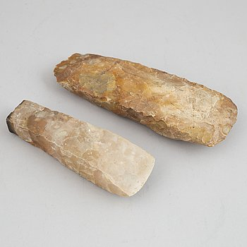 Two neolithic flint axes.