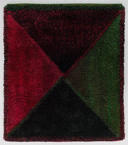 Uhra-beata simberg-ehrström,  a signed rug/ ryarug for friends of finnish handicraft. circa 143x125 cm.