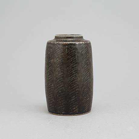 Carl-harry stålhane, a stoneware vas, rörstrand ateljé, signed.