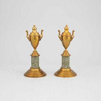 A pair of brass cassolettes, Skultuna, circa 1900.