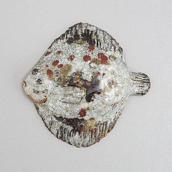 Taisto Kaasinen, a stoneware sculpture of a fish, Arabia, Finland.