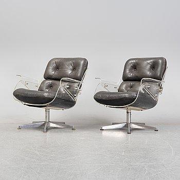 Hans Könecke, a pair of 'D45' armchairs, probably Tecta, Germany, 1960's/70's.