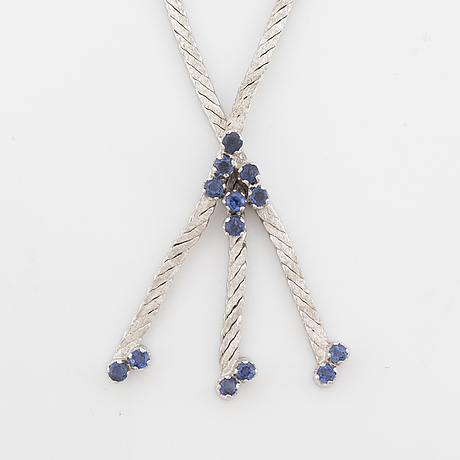 White gold and sapphire necklace.