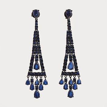 kyanite and sapphire earrings.