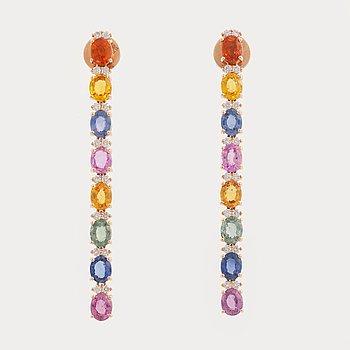 Multi coloured sapphire and brilliant cut diamond ring.