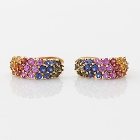 Multi coloured sapphire earrings.