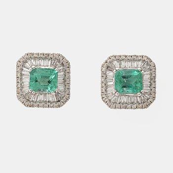 Emerald, baguette and brilliant cut diamond earrings.