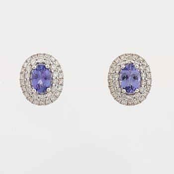 Tanzanite and brilliant cut diamond earrings.