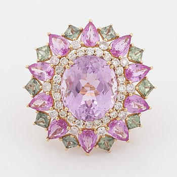 Kunzite, pink and green sapphire and brilliant  cut diamond cocktail ring.