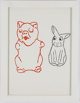 Marianne Lindberg De Geer, chalk on paper, signed and dated 2004 verso.