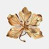 Gertrud engel, a 14k gold leaf brooch for anton michelsen, denmark 1950s.