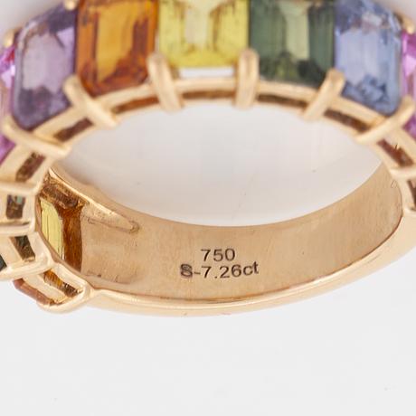 Emerald cut multicolured sapphire ring.