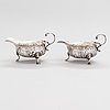 A pair of georg ii sterling silver sauce boats, maker's mark of samuel meriton i, london 1746.