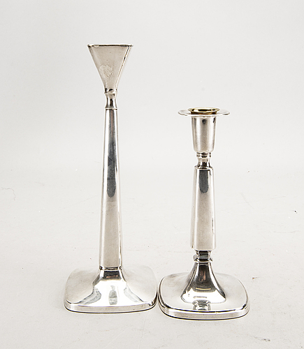 A swedish 20th century set of two pairs of candlesticks mark of t eldh göteborg 1968-70.