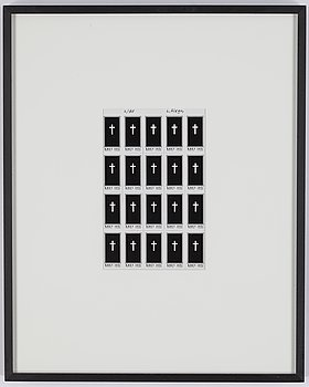 Leif Elggren, screen print on stamp paper, signed and numbered 2/100.