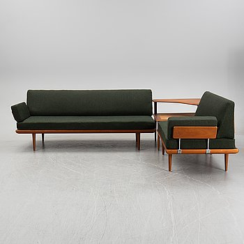 A 'Minerva' set with corner sofas and a table by Peter Hvidt och Ola Mölgaard for France & Son, Denmark, 1950/60's.