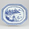 A chinese blue and white porcelain dish, qing dynasty, qianlong (1736-1795).