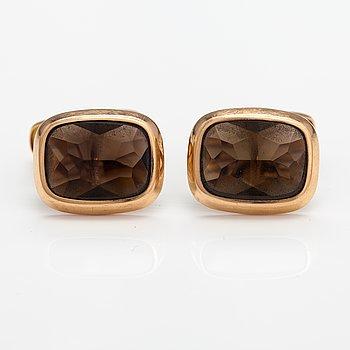 A pair 14K gold and smoky quartz cufflinks. Martti Viikinniemi, Heinola 1967.