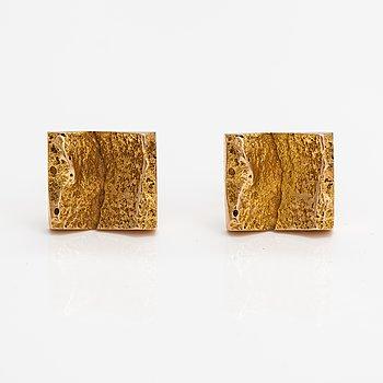 """Björn Weckström, A pair of 14K gold cufflinks """"Ravines"""". Lapponia 1965."""