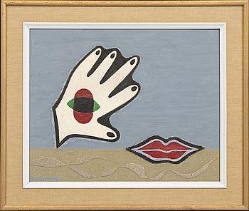 Erik Olson, collage / blandteknik, signerad 1957.