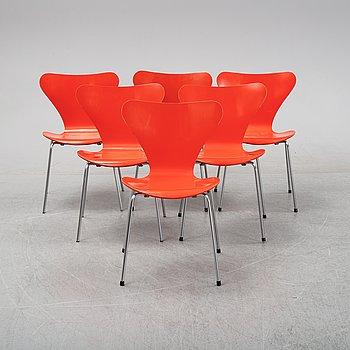 Arne Jacobsen, stolar, 6 st, 'Sjuan', Fritz Hansen, Danmark, 1973.