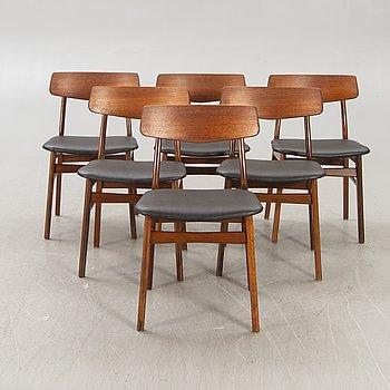 A set of six Danish 1960s teak chairs.