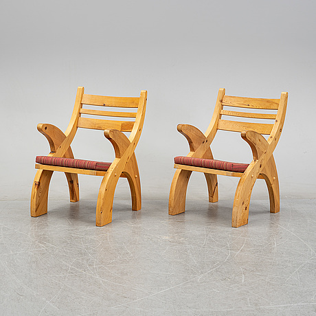 A pair of 1960's/70's, probably norwegian, pine armchairs.