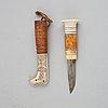 Anders william pokka, a sami reindeer horn knife, signed a w pokka.