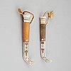 Per henrik simmas, two sami reindeer horn knives, signed.