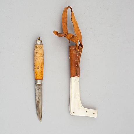 Per erik svonni, a sami reindeer horn knife, signed p.e. sv.