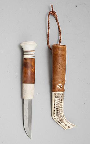 Lennart samelin, a sami reindeer horn knife, signed.