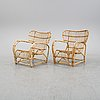 A pair of rattan easy chairs, second half of the 20th century.