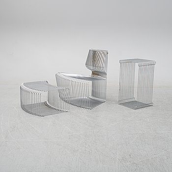 A 'Pantanova convex' chair with foot stool and a 'Wire Extendted' shelf, Verner Panton, Montana, Denmark.