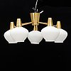A mid 20th century brass and glass ceiling light from asea.